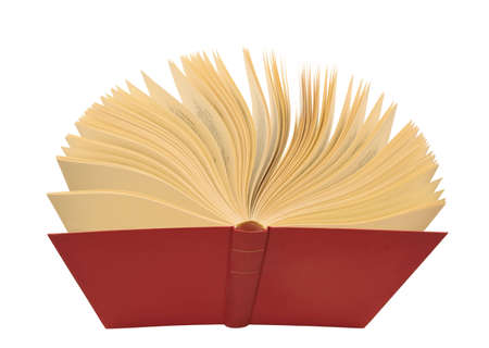 canto: Open red book with yellow pages, isolated Stock Photo