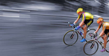 quickness: bicyclists in motion, race, rally, monochrome background, Stock Photo