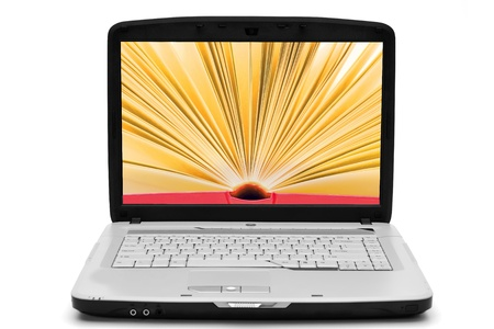 thesaurus: Open book with yellow pages on the screen laptop, e-book, isolated white Stock Photo