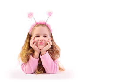 antennae: little girl as small beetle Stock Photo