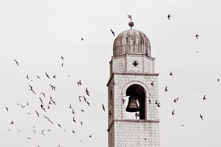 knell: picture with tower and flying birds Stock Photo