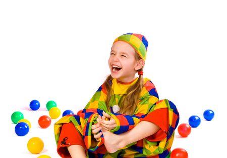 bobo: Riendo cinco - en el a�o girlie dentro de disfrazar tonto  Foto de archivo
