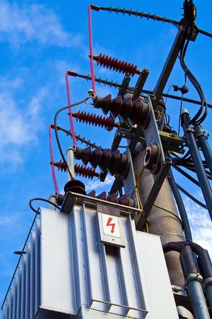 conduit: picture of switchboard of high tension Stock Photo