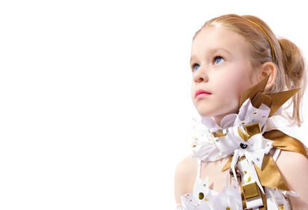 toyshop: little fashion model on white background