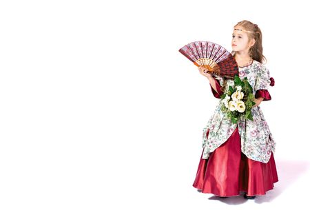 toyshop: young girl as princess on white background