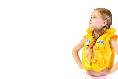 bathing beauty: young girl with yollow lifejacket Stock Photo
