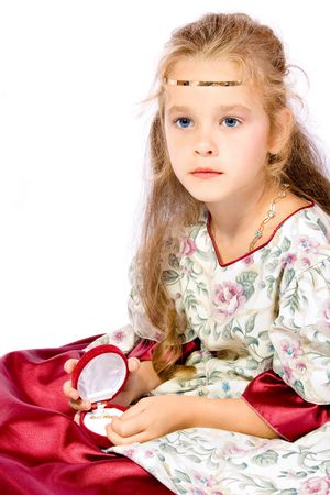 young girl as princess on white background Stock Photo - 3458149