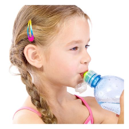 freshening: thirsty young girl with bottle Stock Photo