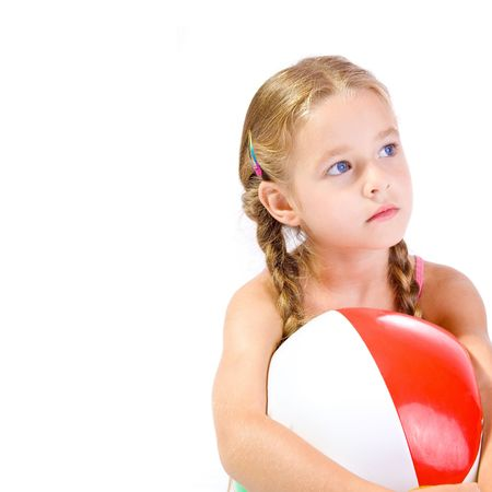 preteens beach: young girl with big ball