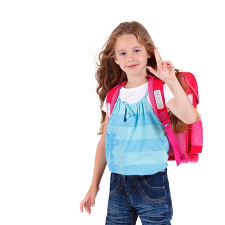 satchel: A beautiful caucasian girl with happy expression goes to school on white background Stock Photo