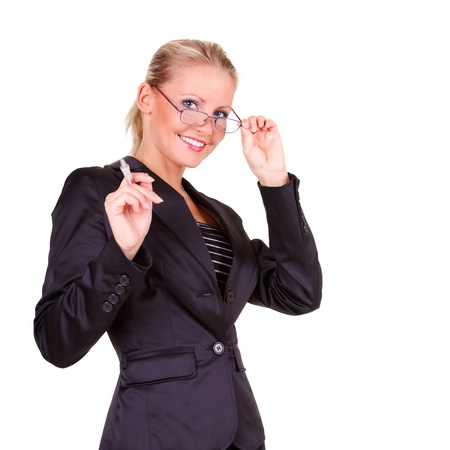 representative: Young happy business woman with glasses Stock Photo
