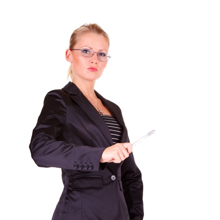 strict: Young happy business woman with glasses Stock Photo