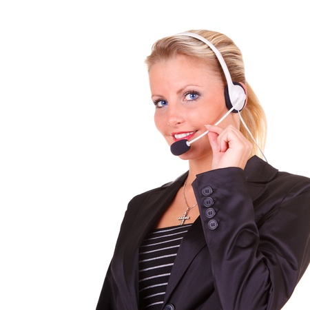 call center representative: Young happy business woman with headset Stock Photo