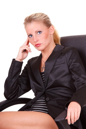 executive assistants: Sitting young happy business woman