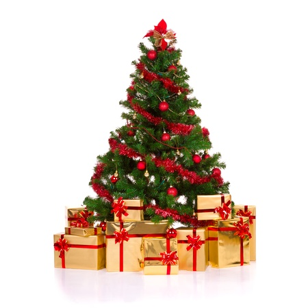 dacorated: Isolated christmas tree, over white background Stock Photo