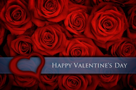 Valentine card with big bunch of red roses photo