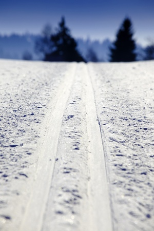 crosscountry: Empty cross-country ski track Stock Photo