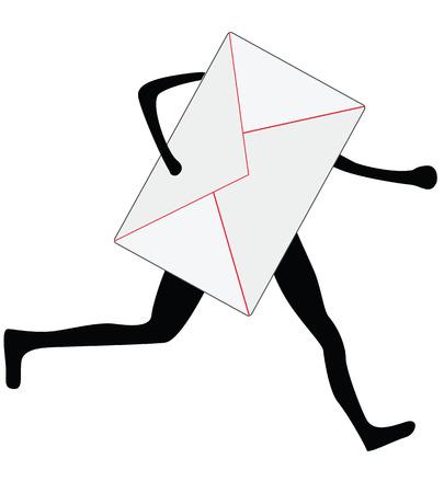 cartoon envelope: running envelope sillhouette, express delivery