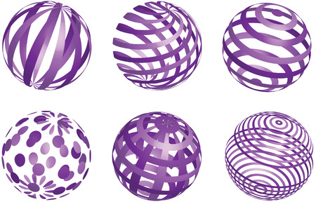 blue sphere: vector abstract purple balls on white background