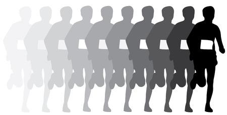 sillhouette: evolution of runner, sillhouette isolated on white