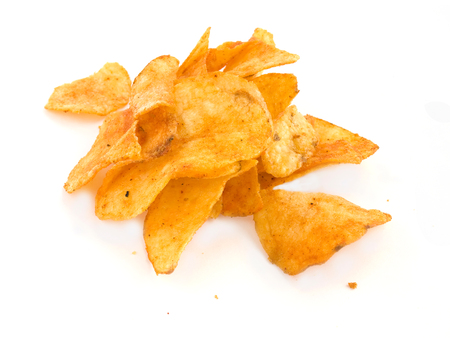 unwholesome: Potato crips on white background Stock Photo