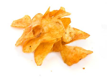 calorie rich food: Potato crips on white background Stock Photo