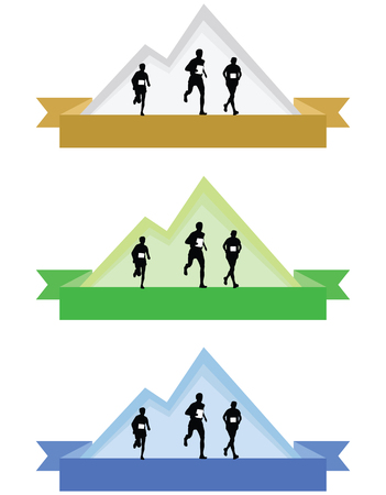 Color mountain running icons or badges vector illustration isolated on white background.