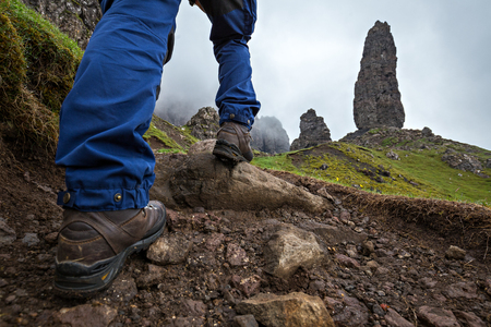 turistic: Unusual look at the turistic site Old Man of Storr on the Isle of Skye in Scotland