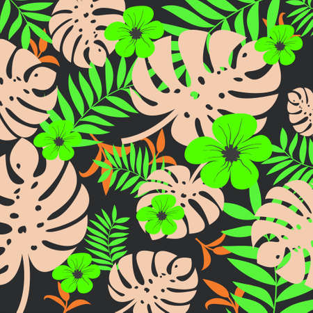 Colorful vector tropical seamless pattern with yellow flower