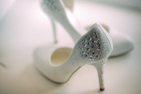 checkroom: white wedding shoes with Rhinestones
