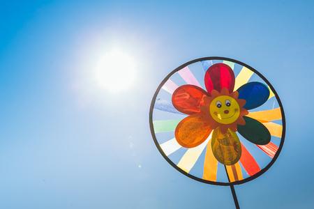 Childrens pinwheel in windy weather Stock Photo