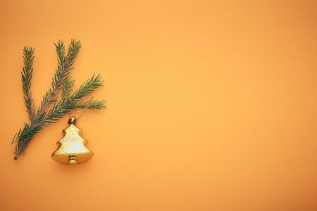 branch Christmas tree on a colored background, a place for text.