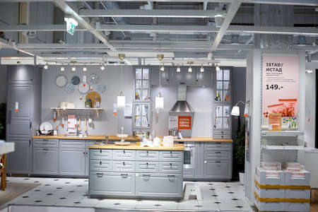 SAMARA, RUSSIA - MAY 07, 2018: Interior of the Ikea store . IKEA is the worlds largest furniture retailer.