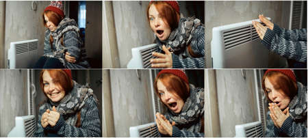 collage of emotional photos of a woman at the radiator, problems with heating in homes during cold weather and energy crisis