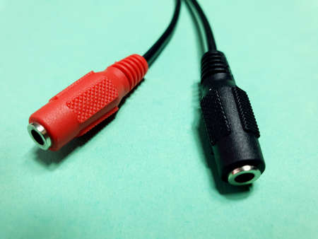 mini jack plug adapter, mom to dad adapter 写真素材