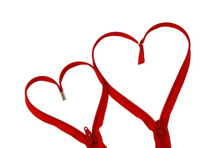 Valentine day  red zipper hearts isolated on white background