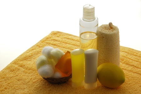 Lemon flavored SPA set including yellow towel, soap, moisturizer and cotton balls  Stock Photo - 8703963