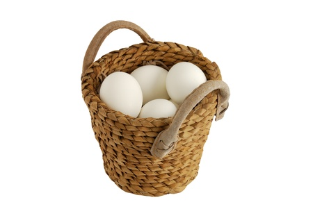 White eggs in interwoven basket as concept of concentration risk