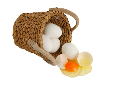 White eggs spilled from interwoven basket as concept of concentration risk