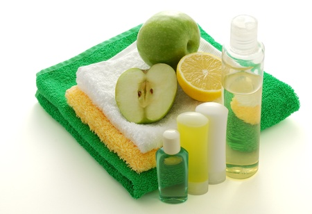 Fruit flavored SPA including colorful towels, shampoo,soap and moisturiser Stock Photo - 8703959