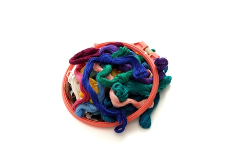 Colorful embroidery floss with small red tambour
