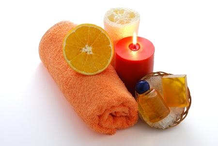 Orange flavored SPA including orange towel, sponge, candle, soap, shampoo and bath salt Stock Photo - 8703972