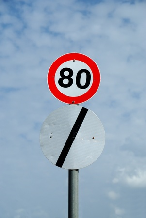 Limits never end - two inconsistent road signs - no speed limit and set limit on same post Stock Photo