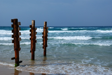 Old rusty pier piles on sea shore