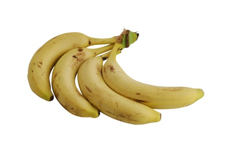 Bunch of four yellow bananas in shape of fan
