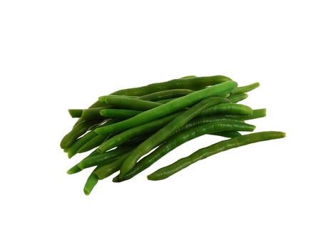 Pile of green beans isolated on white background photo