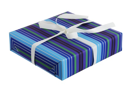Festive present box wrapped in striped blue paper with white ribbon isolated on white background Stock Photo - 9238363