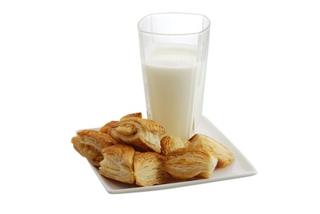 Plate of fresh baked bourekas  aka burek with glass of milk isolated on white background Stock Photo
