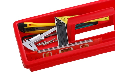 Closeup of red tray with do-it-yourself tools isolated on white background Stock Photo