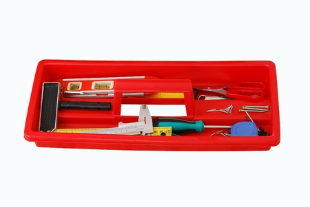 Red tray with do-it-yourself tools isolated on white background Stock Photo